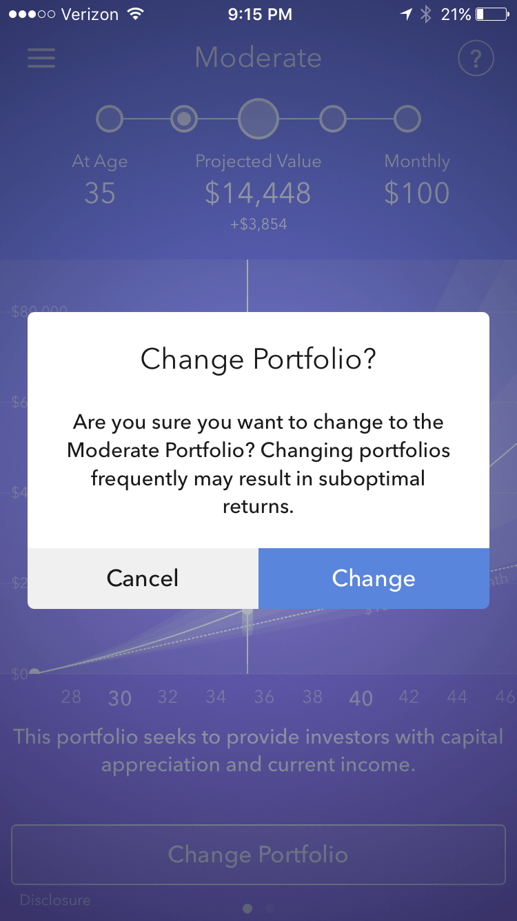 if you ever want to change your portfolio it only takes a few clicks - Turn Your Spare Change Into An Investment Account With Acorns