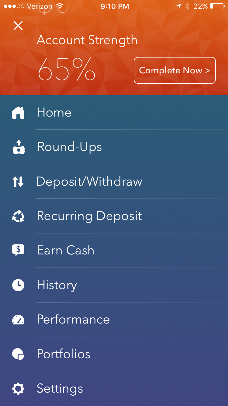 this is what the menu looks like in acorns - Turn Your Spare Change Into An Investment Account With Acorns